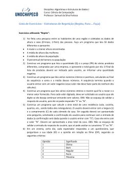 Lista de Exercícios – Estruturas de Repetição (Repita, Para Faça)