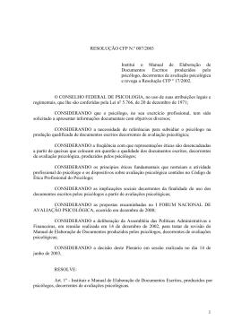 resolução cfp n.º 007/2003 - Conselho Federal de Psicologia