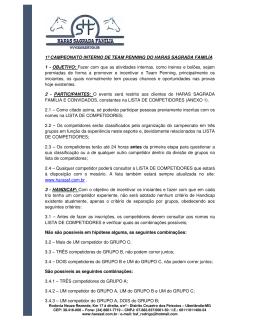 Regulamento - Haras Sagrada Família