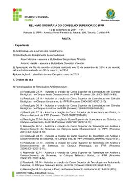 Pauta da reunião ordinária de 16 de dezembro de 2014