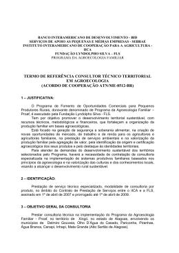termo de referência consultor técnico territorial em agroecologia