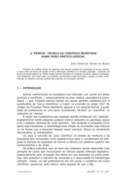 """A """"PERÍCIA"""" TÉCNICA OU CIENTÍFICA REVISITADA NUMA"""