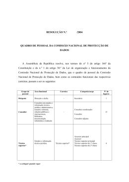 RESOLUÇÃO N.º /2004 QUADRO DE PESSOAL DA COMISSÃO