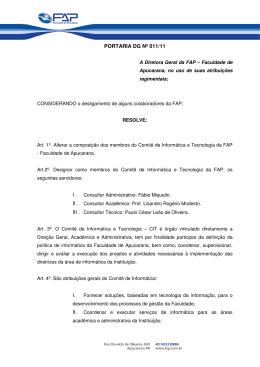 Portaria DG 011 11 Alteração no Comitê de Informática