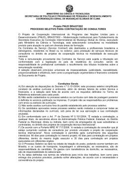 Edital/TOR - Ministério da Ciência e Tecnologia