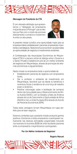 """tamos a """"delegação de empresários moçambicanos a Po"""