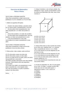 Exercícios de Matemática Retas e Planos