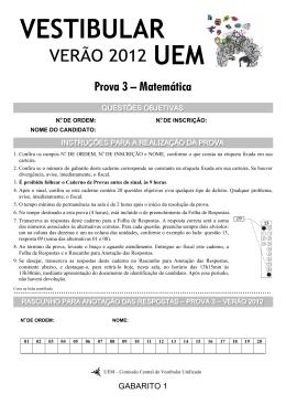 Prova 3 – Matemática