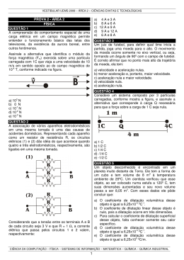 PROVA 2 - ÁREA 2 FÍSICA QUESTÃO 1 A compreensão do