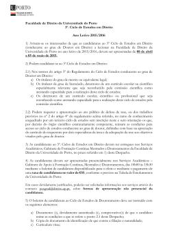 Edital do Doutoramento em Direito UPorto 2015-2016