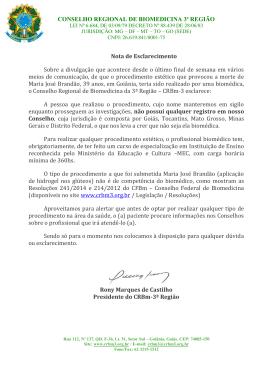 CONSELHO REGIONAL DE BIOMEDICINA 3ª REGIÃO