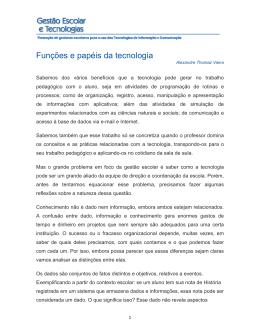 Funções e papéis da tecnologia