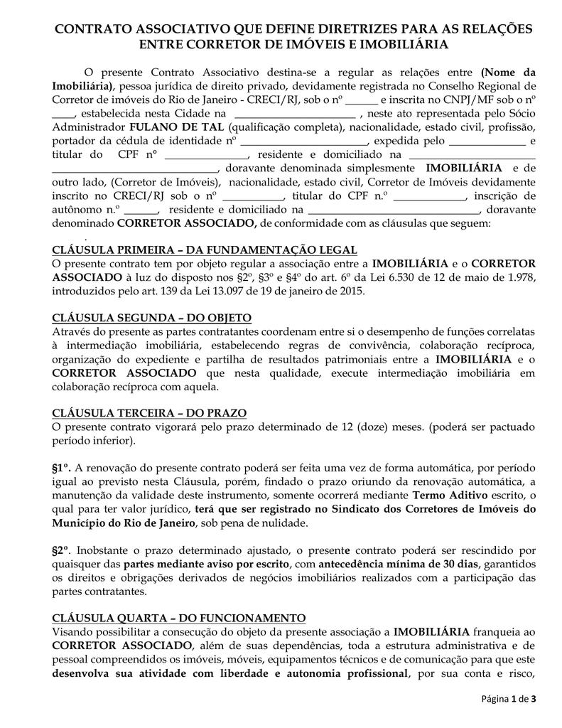 Modelo De Contrato Contrato Associativo