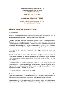 DISCURSO DO SANTO PADRE