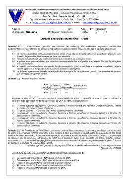 Lista de exercícios exame final – 1ºano Nome: Nº ______ Ano: 1º