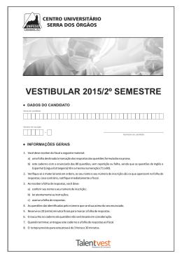 VESTIBULAR 2015/2º SEMESTRE - Colégio e Vestibular de A a Z