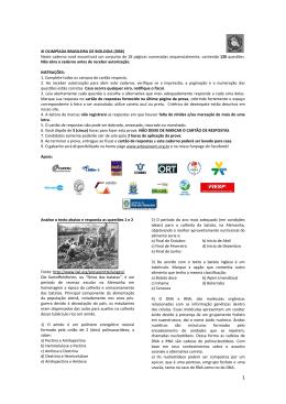 XI OLIMPÍADA BRASILEIRA DE BIOLOGIA (OBB) Neste caderno