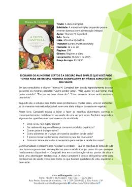 A dieta Campbell Subtítulo: A maneira simples de
