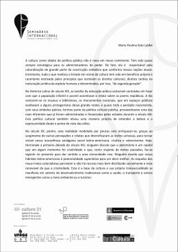 Maria Paulina Soto Labbé A cultura como objeto de