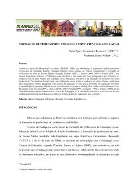 PEDAGOGIA: CIÊNCIA DA EDUCAÇÃO