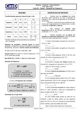 Lista 02 - Equação de Clapeyron