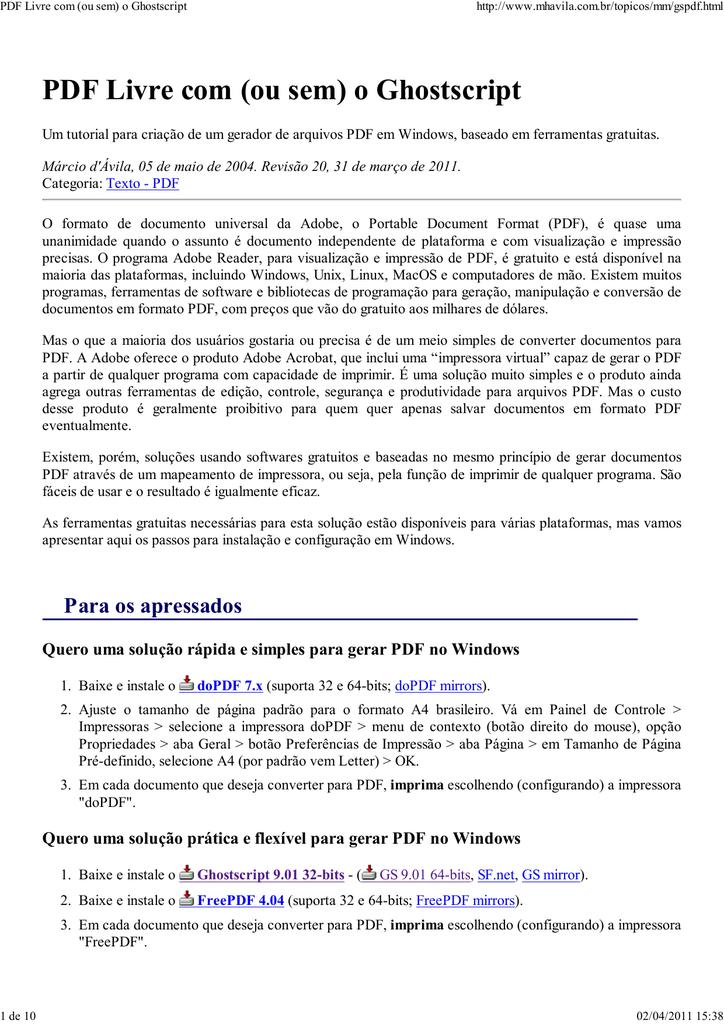 PDF Livre com (ou sem) o Ghostscript