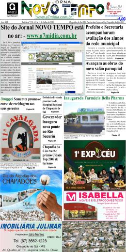 Site do Jornal NOVO TEMPO está no ar: - www