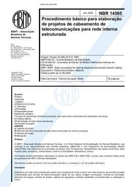 NBR 14565 Procedimento básico para elaboração de projetos de