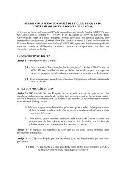 REGIMENTO INTERNO DO COMITÊ DE ÉTICA EM