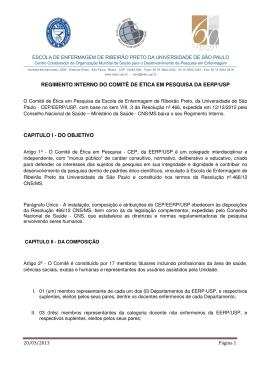 Regimento Interno do Comitê de Ética em Pesquisa da EERP-USP