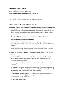 UNIVERSIDADE VEIGA DE ALMEIDA COMITÊ DE ÉTICA EM