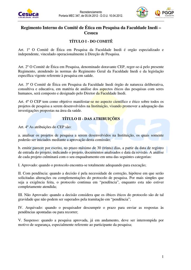 4739e76b7452c Regimento Interno do Comitê de Ética em Pesquisa da Faculdade