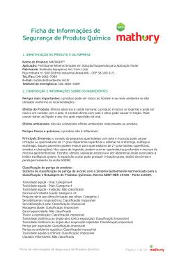 Ficha de Informações de Segurança de Produto Químico