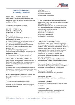 Exercícios de Química Classificação Periódica