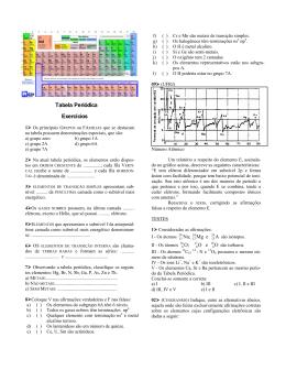 Tabela periódica - Exercícios (1º ano)