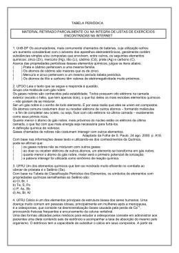 TABELA PERIÓDICA MATERIAL RETIRADO PARCIALMENTE OU