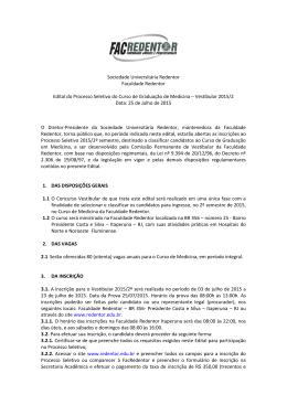 Sociedade Universitária Redentor Faculdade Redentor Edital do