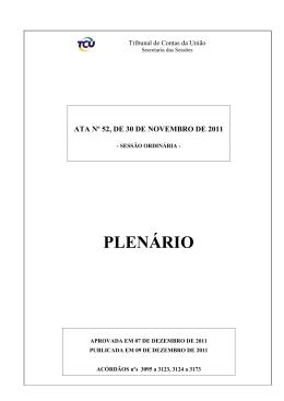PLENÁRIO - Tribunal de Contas da União
