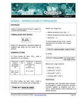 óxidos – nomenclatura e formulação
