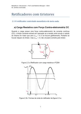 Retificadores monofásicos controlados de meia onda com carga