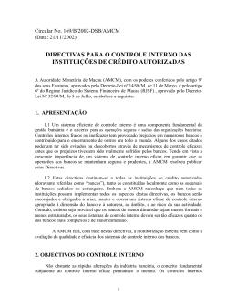 directivas para o controle interno das instituições de crédito