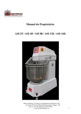 Manual do Proprietário. ASI 25 / ASI 40 / ASI 80