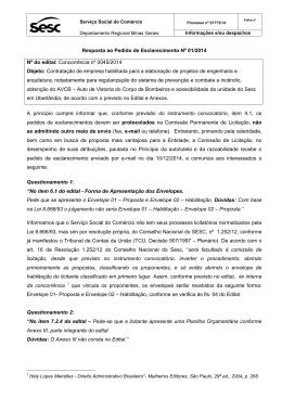 Resposta ao Pedido de Esclarecimento Nº 01/2014 Nº do edital