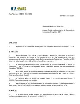 Nota Técnica 139/2015/SGT/ANEEL (+RAC)