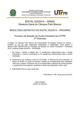 EDITAL 003/2014 – DIRGE Diretoria Geral do Câmpus