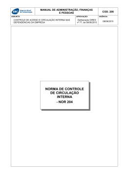 norma de controle de circulação interna - nor 204