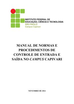 manual de normas e procedimentos de controle de entrada e saída