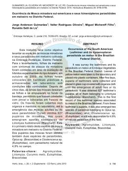 Ocorrência da Mosca minadora sul-americana e seus himenópteros