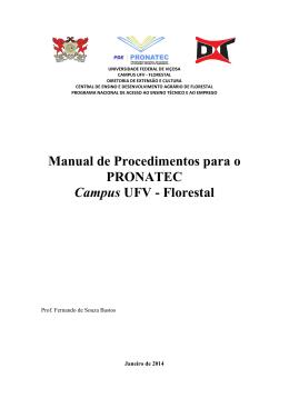 Manual de Procedimentos para o PRONATEC Campus UFV