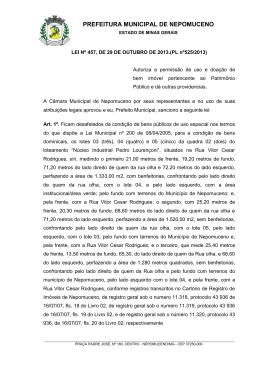 LEI Nº 457-2013 - Doa terreno para TRUNKS CONFECÇÕES LTDA